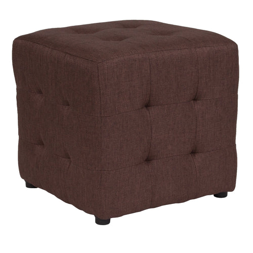 Avendale Tufted Upholstered Ottoman Pouf in Brown Fabric [QY-S02-BRN-GG]