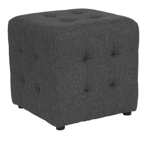 Avendale Tufted Upholstered Ottoman Pouf in Dark Gray Fabric [QY-S02-DGY-GG]