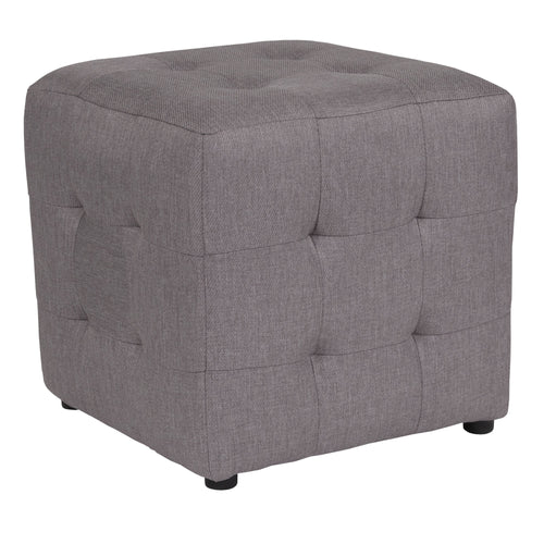 Avendale Tufted Upholstered Ottoman Pouf in Light Gray Fabric [QY-S02-LGY-GG]