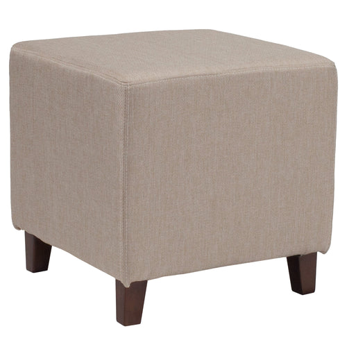 Ascalon Upholstered Ottoman Pouf in Beige Fabric [QY-S09-B-GG]