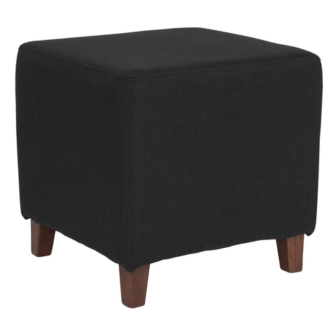 Ascalon Upholstered Ottoman Pouf in Black Fabric [QY-S09-BK-GG]