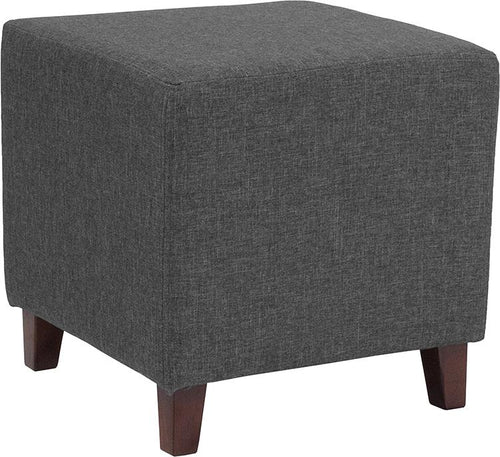 Ascalon Upholstered Ottoman Pouf in Dark Gray Fabric [QY-S09-DGY-GG]