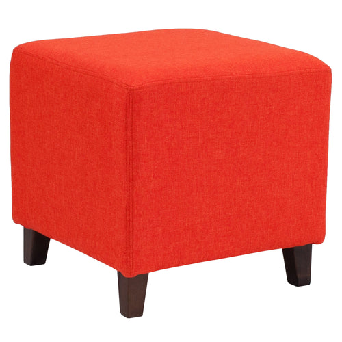 Ascalon Upholstered Ottoman Pouf in Orange Fabric [QY-S09-OR-GG]