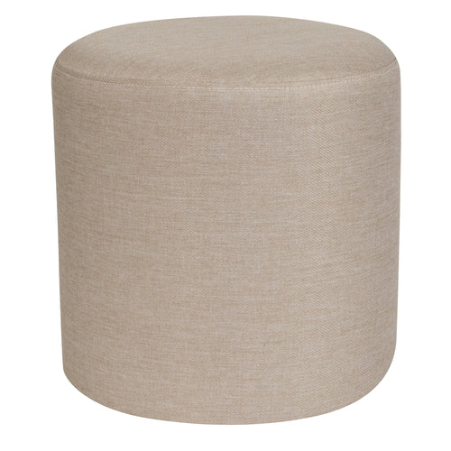 Barrington Upholstered Round Ottoman Pouf in Beige Fabric [QY-S10-5001-1-B-GG]
