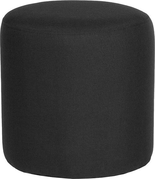 Barrington Upholstered Round Ottoman Pouf in Black Fabric [QY-S10-5001-1-BK-GG]