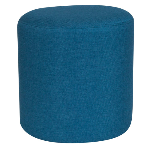 Barrington Upholstered Round Ottoman Pouf in Blue Fabric [QY-S10-5001-1-BLU-GG]