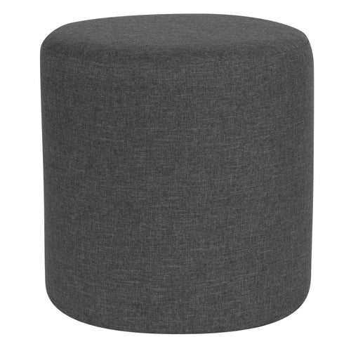 Barrington Upholstered Round Ottoman Pouf in Dark Gray Fabric [QY-S10-5001-1-DGY-GG]