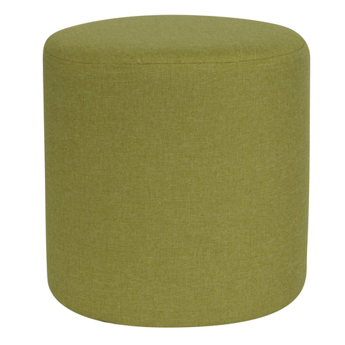Barrington Upholstered Round Ottoman Pouf in Green Fabric [QY-S10-5001-1-GRN-GG]