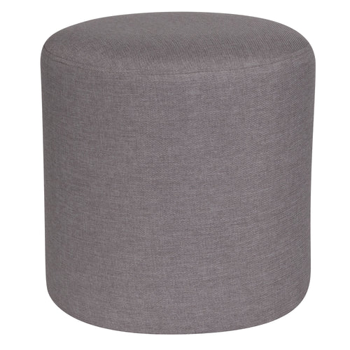 Barrington Upholstered Round Ottoman Pouf in Light Gray Fabric [QY-S10-5001-1-LGY-GG]
