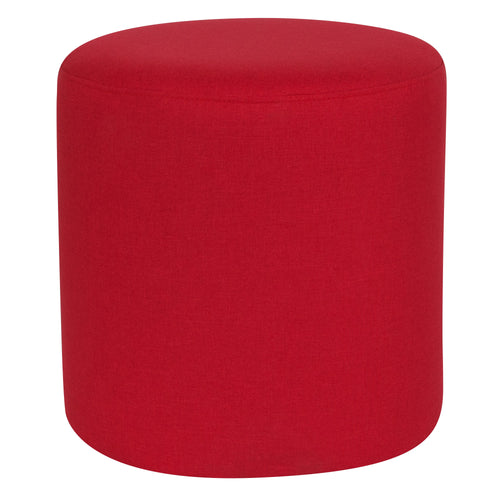 Barrington Upholstered Round Ottoman Pouf in Red Fabric [QY-S10-5001-1-RD-GG]