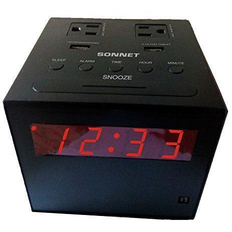 Power Station Clock Radio with Blue Tooth-2 110 volt Plugs and 2 USB Ports