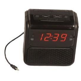 "Single Day Alarm .9"" LED Clock Radio with Aux In"