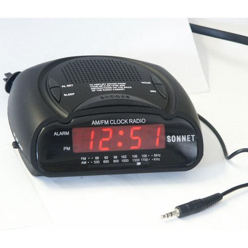 LED Clock Radio with Feature of Amplification for Portable Audio Device