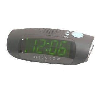 "1.2"" Green LED Clock Radio with MP3/i-Pod Plug"