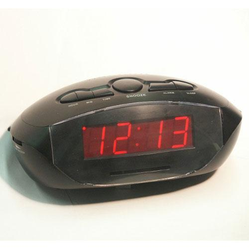 ".9"" LED Clock Radio with MP3/Aux In Cord-110/220 volt, 50/60 cycle"