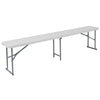 10.25''W x 71''L Bi-Fold Granite White Plastic Bench with Carrying Handle [RB-1172FH-GG]