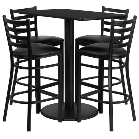 24'' x 42'' Rectangular Black Laminate Table Set with 4 Ladder Back Metal Barstools - Black Vinyl Seat [RSRB1017-GG]
