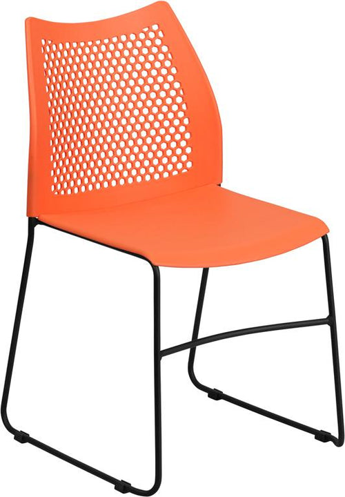 HERCULES Series 661 lb. Capacity Orange Sled Base Stack Chair with Air-Vent Back [RUT-498A-ORANGE-GG]