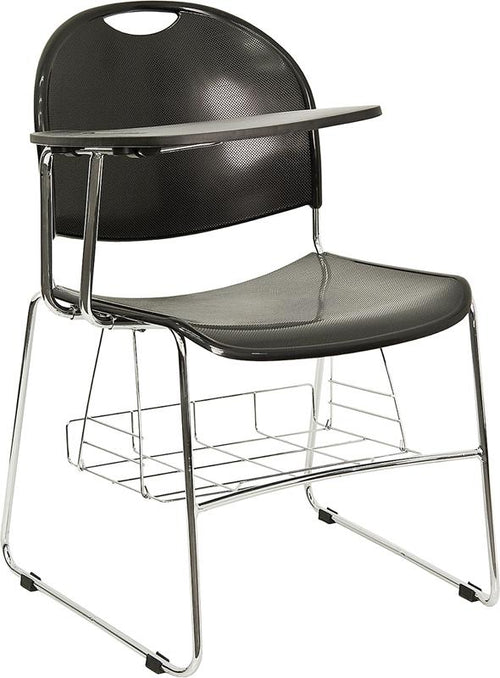 Black Plastic Chair with Right Handed Flip-Up Tablet Arm and Book Basket [RUT-NC188-03C-04A-RT-GG]