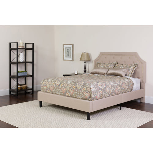 Brighton Twin Size Tufted Upholstered Platform Bed in Beige Fabric [SL-BK4-T-B-GG]