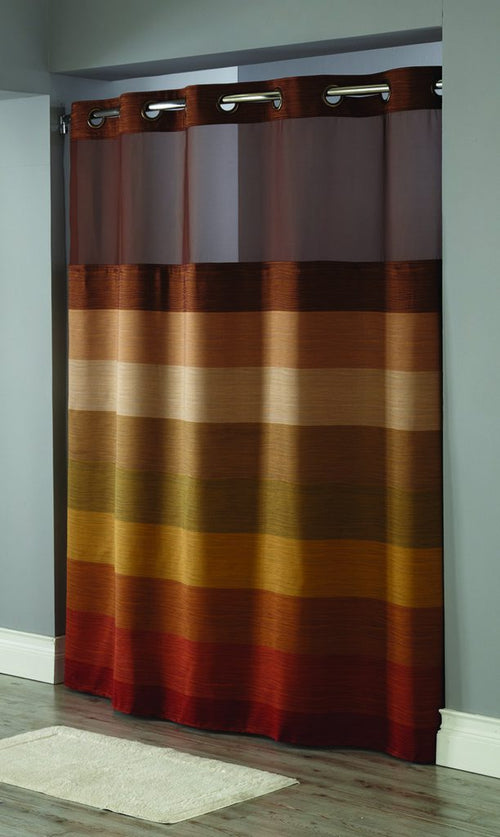 Hookless STRATUS Brown Multi Color Fabric Shower Curtain - Case of 12