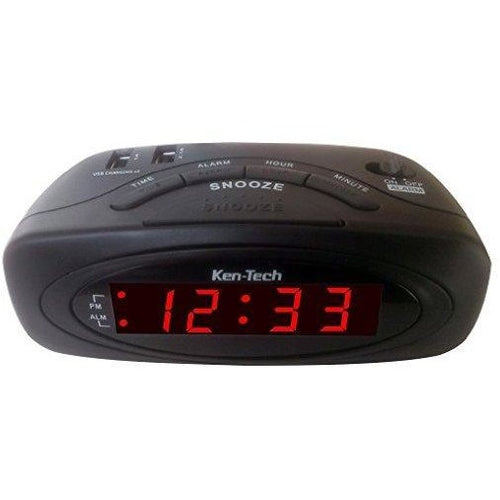 LED Alarm Clock-2 USB Port-1.0A for Smart Phone, 2.1A for Tablets