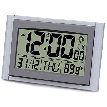 "Atomic LCD Wall Clock with 2"" Numbers, Temperature & Humidity"