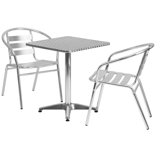 23.5'' Square Aluminum Indoor-Outdoor Table Set with 2 Slat Back Chairs [TLH-ALUM-24SQ-017BCHR2-GG]