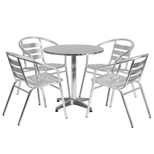 27.5'' Round Aluminum Indoor-Outdoor Table Set with 4 Slat Back Chairs [TLH-ALUM-28RD-017BCHR4-GG]