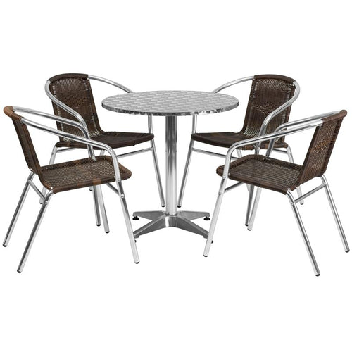 27.5'' Round Aluminum Indoor-Outdoor Table Set with 4 Dark Brown Rattan Chairs [TLH-ALUM-28RD-020CHR4-GG]