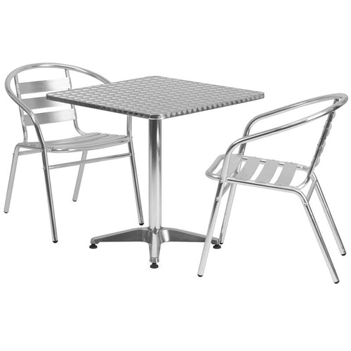 27.5'' Square Aluminum Indoor-Outdoor Table Set with 2 Slat Back Chairs [TLH-ALUM-28SQ-017BCHR2-GG]