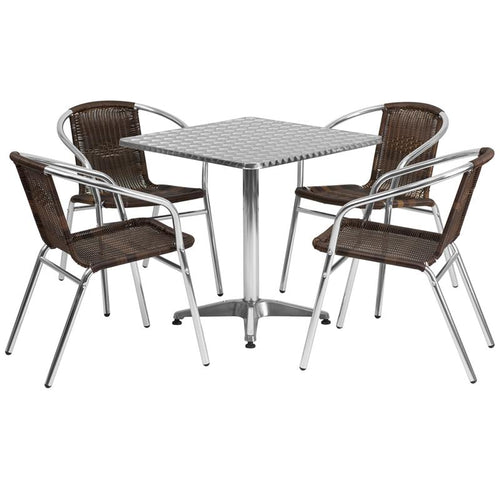 27.5'' Square Aluminum Indoor-Outdoor Table Set with 4 Dark Brown Rattan Chairs [TLH-ALUM-28SQ-020CHR4-GG]
