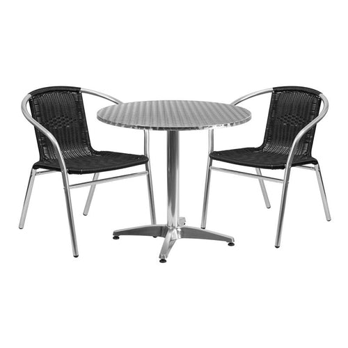 31.5'' Round Aluminum Indoor-Outdoor Table Set with 2 Black Rattan Chairs [TLH-ALUM-32RD-020BKCHR2-GG]