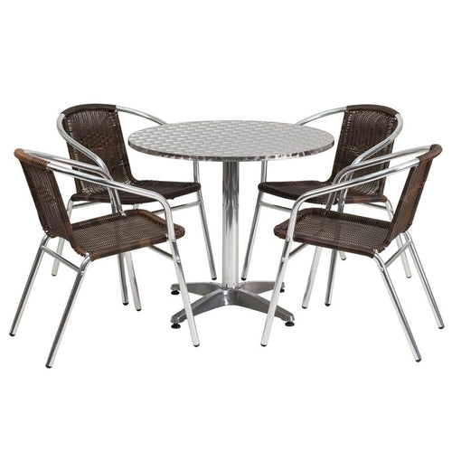 31.5'' Round Aluminum Indoor-Outdoor Table Set with 4 Dark Brown Rattan Chairs [TLH-ALUM-32RD-020CHR4-GG]