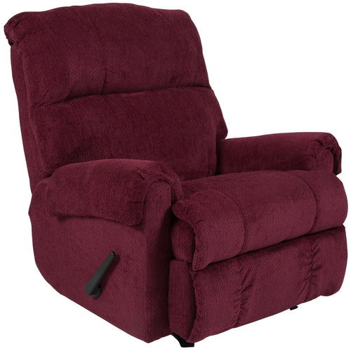Contemporary Kelly Burgundy Super Soft Textured Microfiber Rocker Recliner [WA-8700-117-GG]