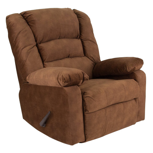 Contemporary Super Soft Cody Tobacco Microfiber Rocker Recliner [WA-8810-101-GG]
