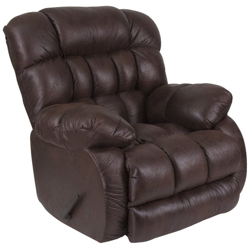 Contemporary Breathable Comfort Nevada Chocolate Fabric Rocker Recliner [WA-9200-694-GG]