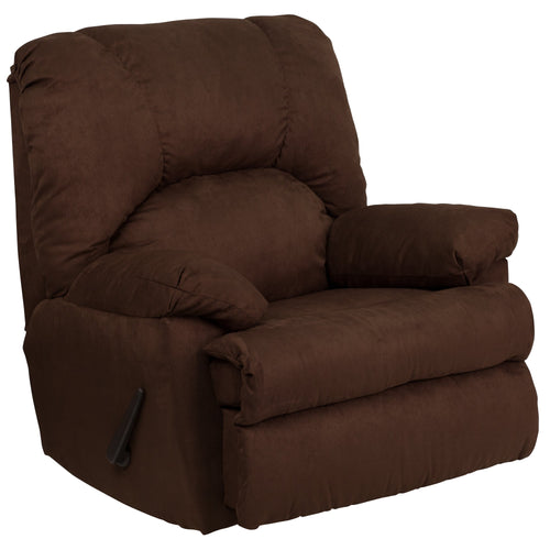 Contemporary Montana Chocolate Microfiber Suede Rocker Recliner [WM-8500-263-GG]