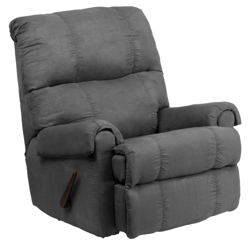 Contemporary Flatsuede Graphite Microfiber Rocker Recliner [WM-8700-113-GG]
