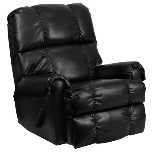 Contemporary Ty Black Leather Rocker Recliner [WM-8700-622-GG]