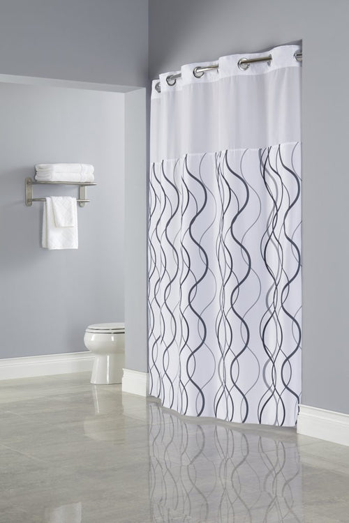 Hookless WAVES Fabric Shower Curtain - Case of 12