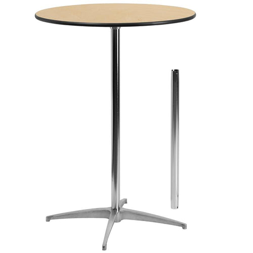 30'' Round Wood Cocktail Table with 30'' and 42'' Columns [XA-30-COTA-GG]