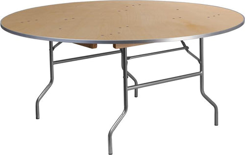 66'' Round HEAVY DUTY Birchwood Folding Banquet Table with METAL Edges [XA-66-BIRCH-M-GG]
