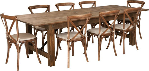 HERCULES Series 9' x 40'' Antique Rustic Folding Farm Table Set with 8 Cross Back Chairs and Cushions [XA-FARM-14-GG]