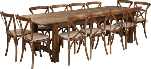 HERCULES Series 9' x 40'' Antique Rustic Folding Farm Table Set with 12 Cross Back Chairs and Cushions [XA-FARM-16-GG]