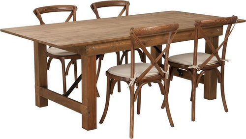 HERCULES Series 7' x 40'' Antique Rustic Folding Farm Table Set with 4 Cross Back Chairs and Cushions [XA-FARM-8-GG]