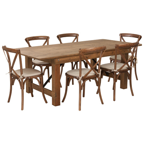 HERCULES Series 7' x 40'' Antique Rustic Folding Farm Table Set with 6 Cross Back Chairs and Cushions [XA-FARM-9-GG]