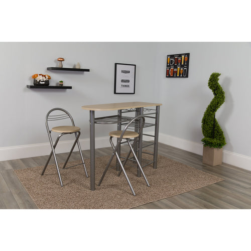Carnegie 3 Piece Space-Saver Natural Finish Bistro Set with Wine Rack, Shelving and Folding Chairs [XM-JM-A0174-N-GG]