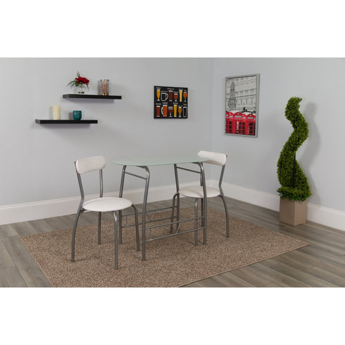 Sutton 3 Piece Space-Saver Bistro Set with White Glass Top Table and White Vinyl Padded Chairs [XM-JM-A0278-1-2-WH-GG]