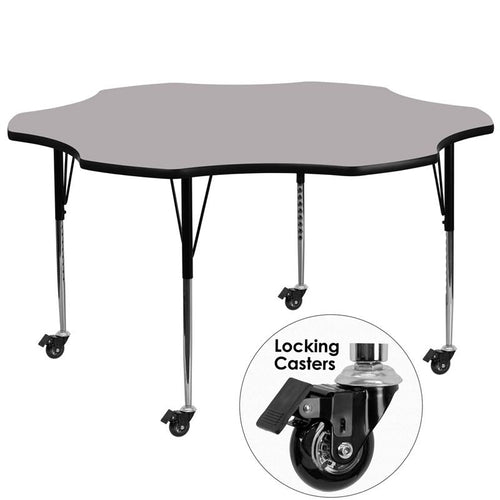 Mobile 60'' Flower Grey Thermal Laminate Activity Table - Standard Height Adjustable Legs [XU-A60-FLR-GY-T-A-CAS-GG]